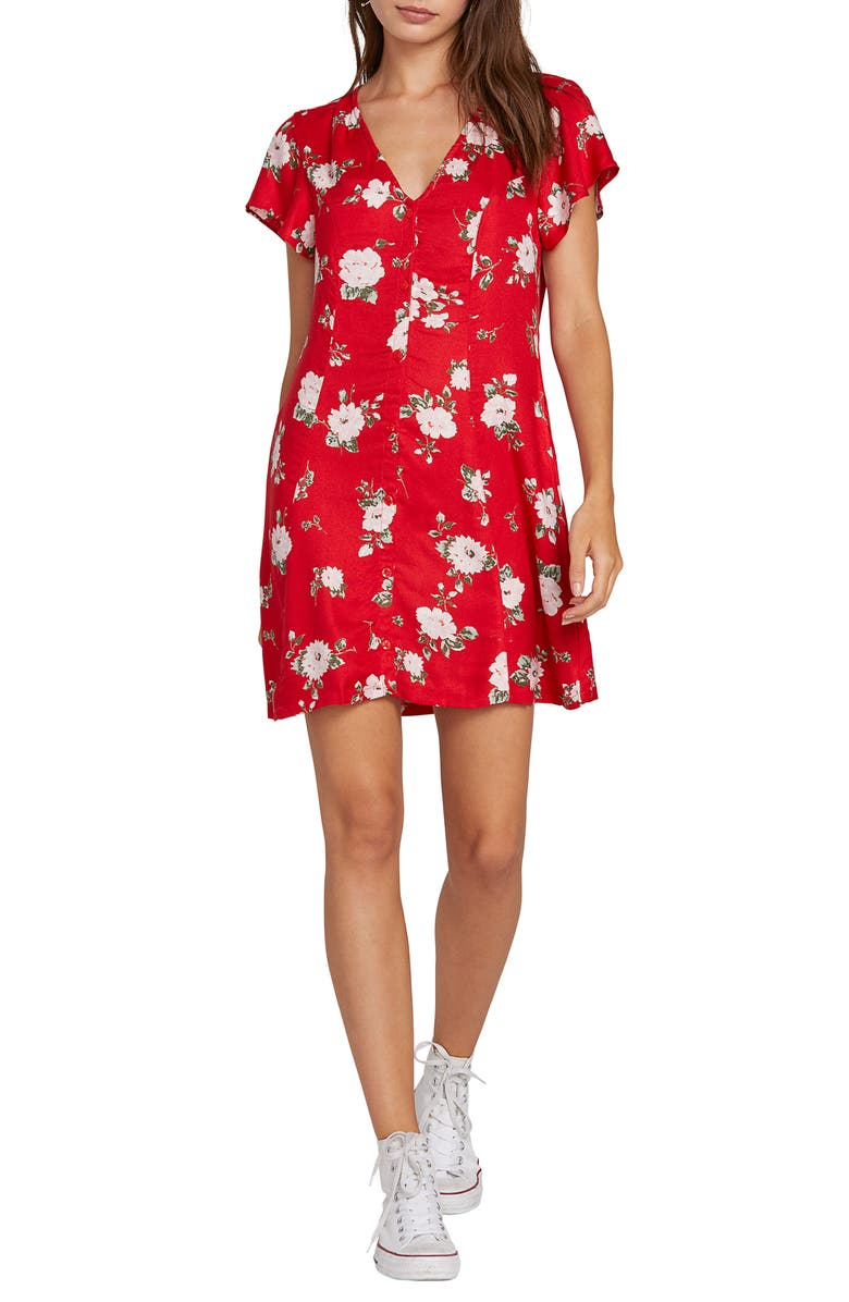 VOLCOM Now or Now Cherry Print Shirtdress, Main, color, FLASH RED