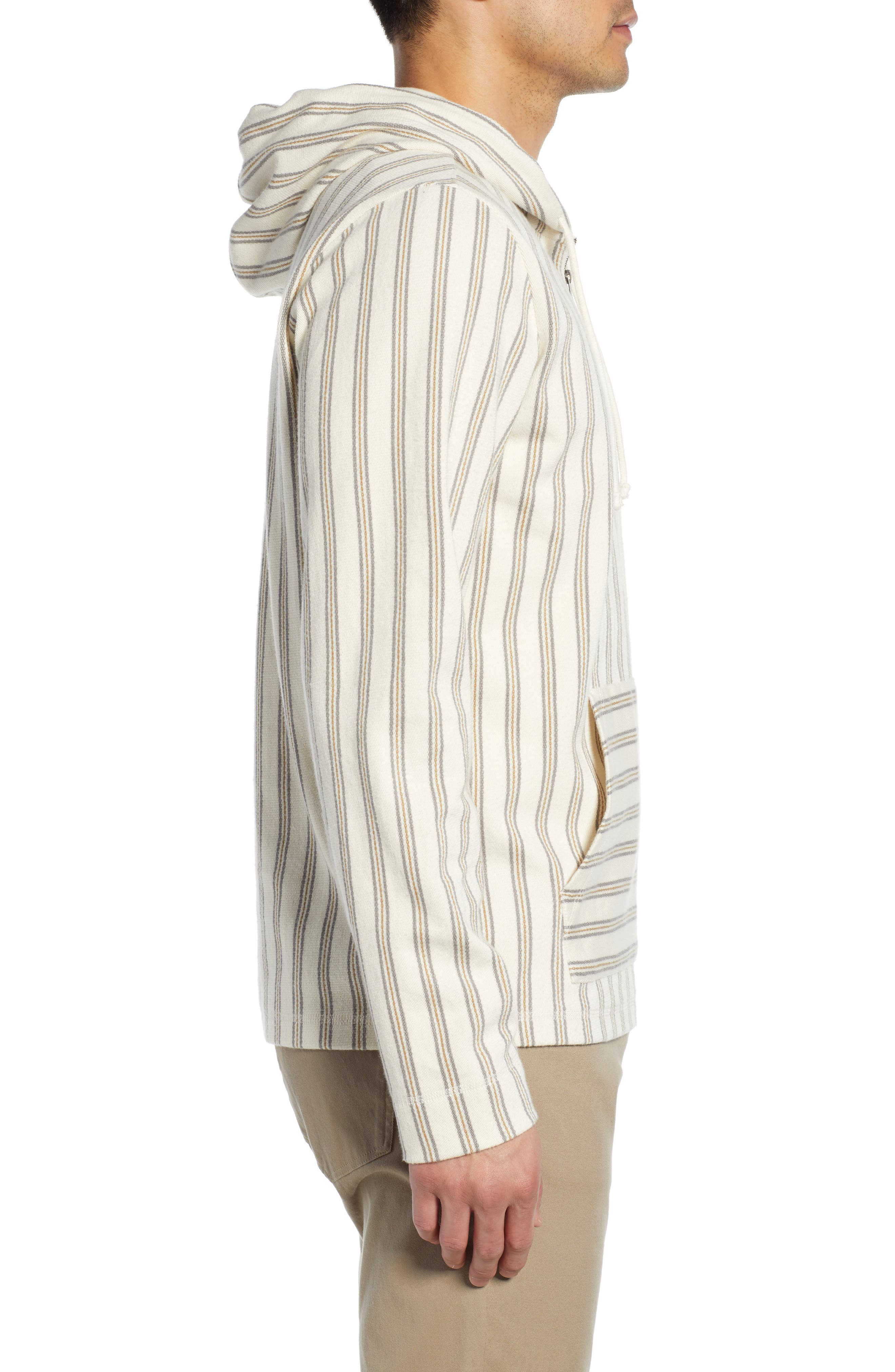 ,                             Stripe Slim Fit Half Zip Hoodie,                             Alternate thumbnail 3, color,                             SAIL/ DOVE GREY