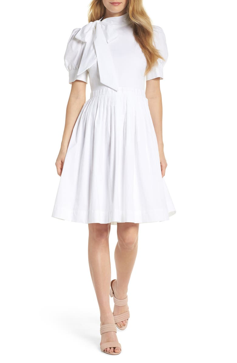 GAL MEETS GLAM COLLECTION Hanna Puff Sleeve Cotton Poplin Dress, Main, color, 101