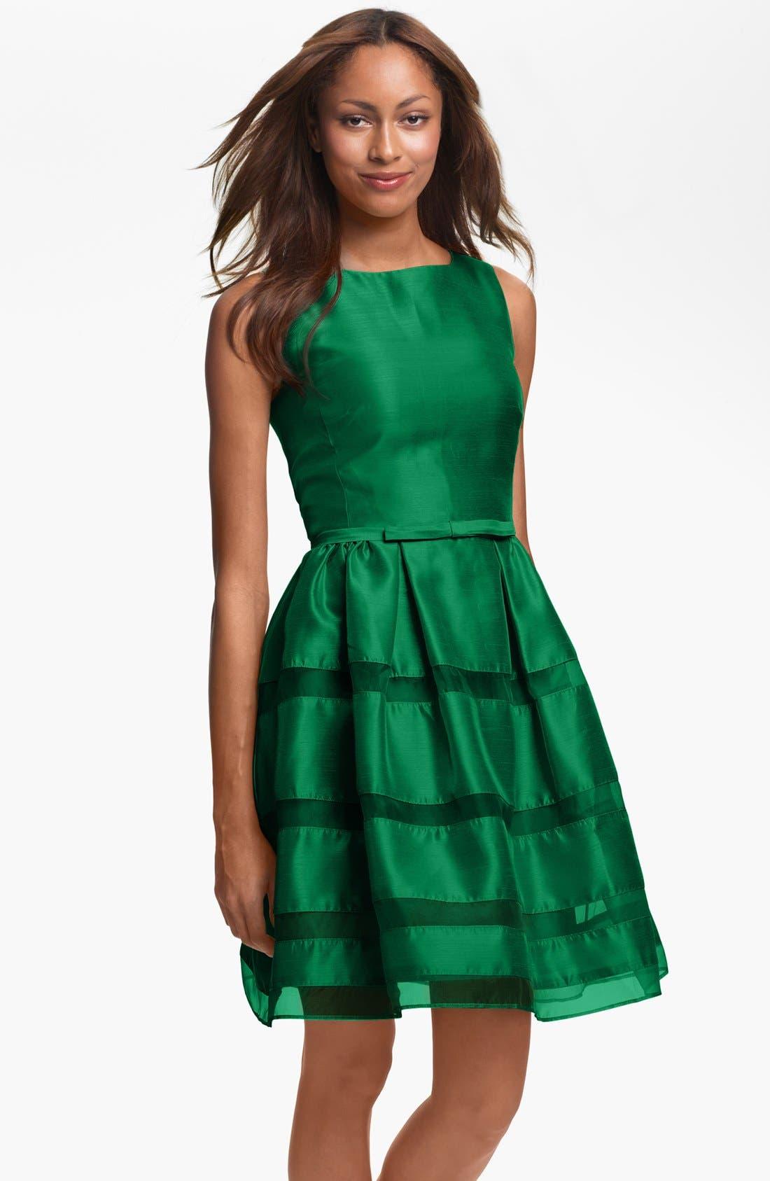 ,                             Tonal Stripe Fit & Flare Dress,                             Main thumbnail 7, color,                             310