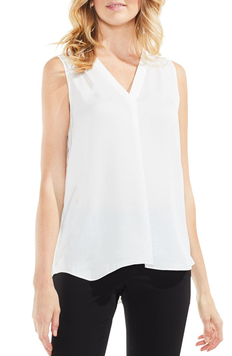 VINCE CAMUTO Rumpled Satin Blouse, Main, color, NEW IVORY
