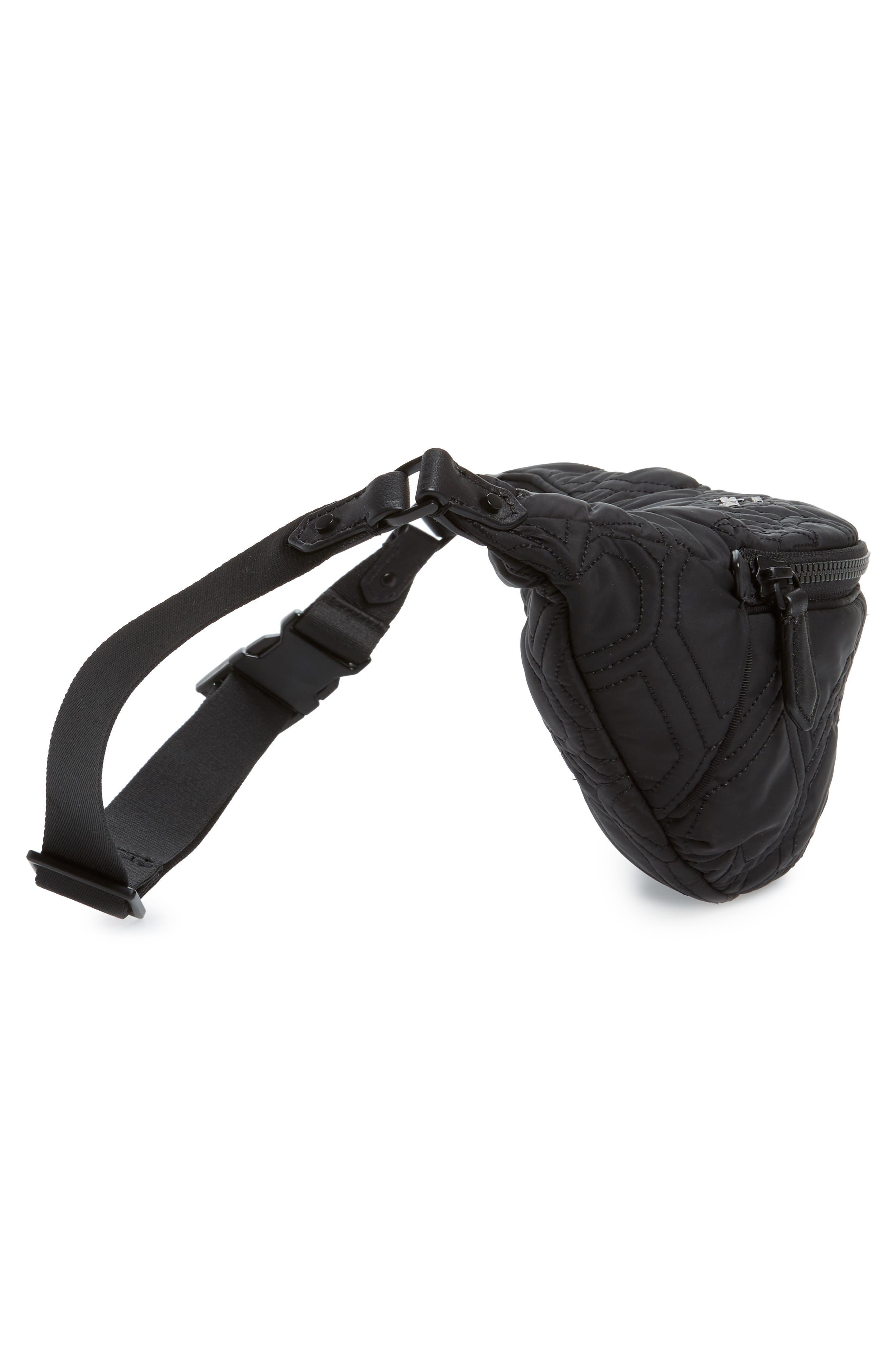 ,                             jayne heart quilted belt bag,                             Alternate thumbnail 6, color,                             BLACK