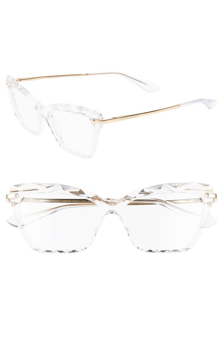 DOLCE&GABBANA 53mm Cat Eye Optical Glasses, Main, color, CRYSTAL/ GOLD