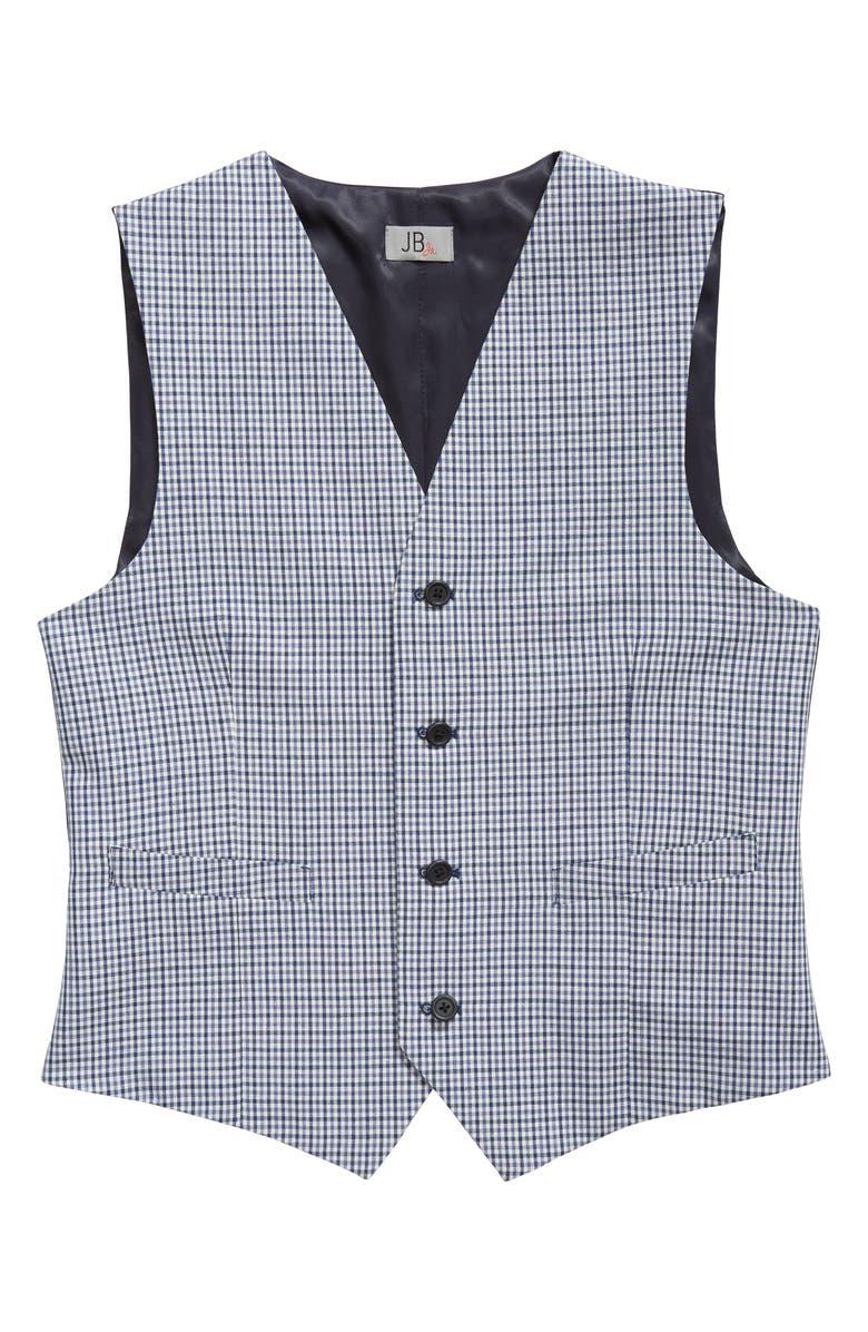 JB JR. Check Wool Vest, Main, color, BLUE