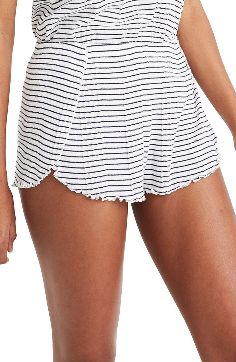 MADEWELL Stripe Rib Pajama Shorts, Main, color, PEARL IVORY