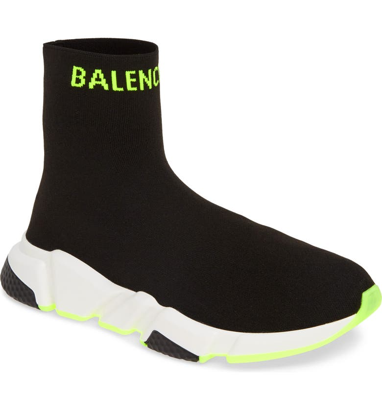 BALENCIAGA Speed Sock Slip-On, Main, color, BLACK/ YELLOW FLUO