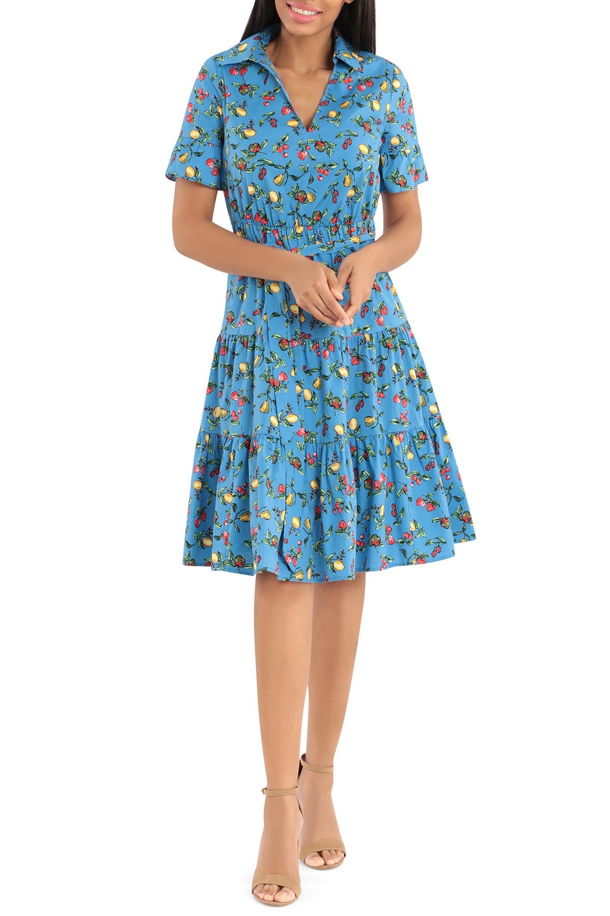 Image of Donna Morgan Short Ruffle Sleeve Stretch Collared Dress