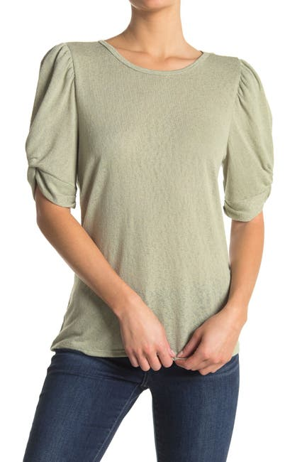 Image of Bobeau Caty Ruche Sleeved Top