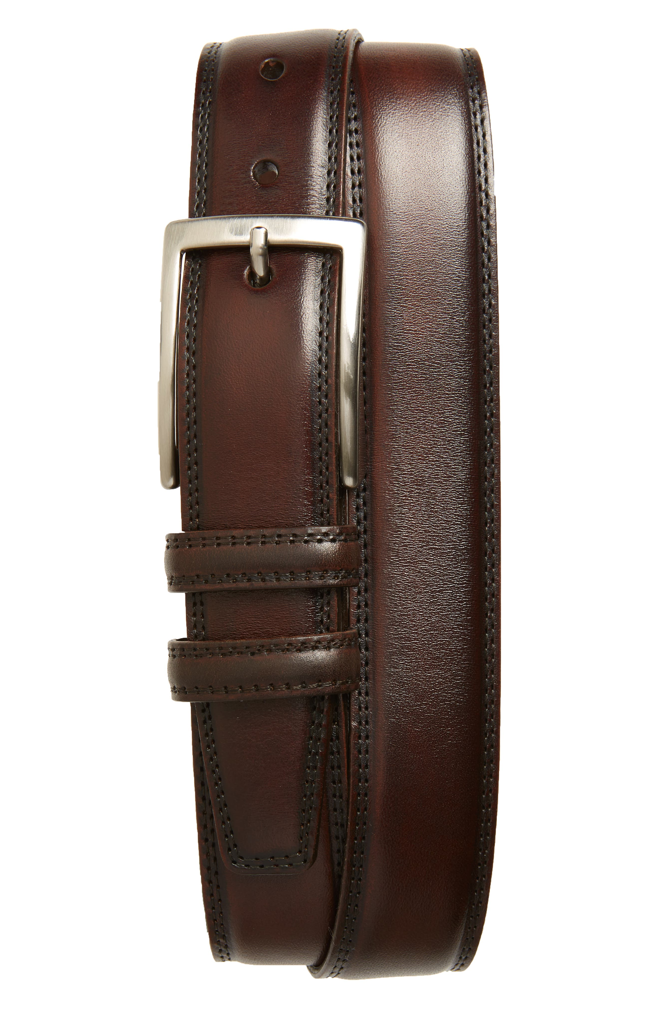 Two-tone kipskin leather elevates an American-made belt with exceptional charm. Style Name: Torino Kipskin Leather Belt. Style Number: 5758265. Available in stores.