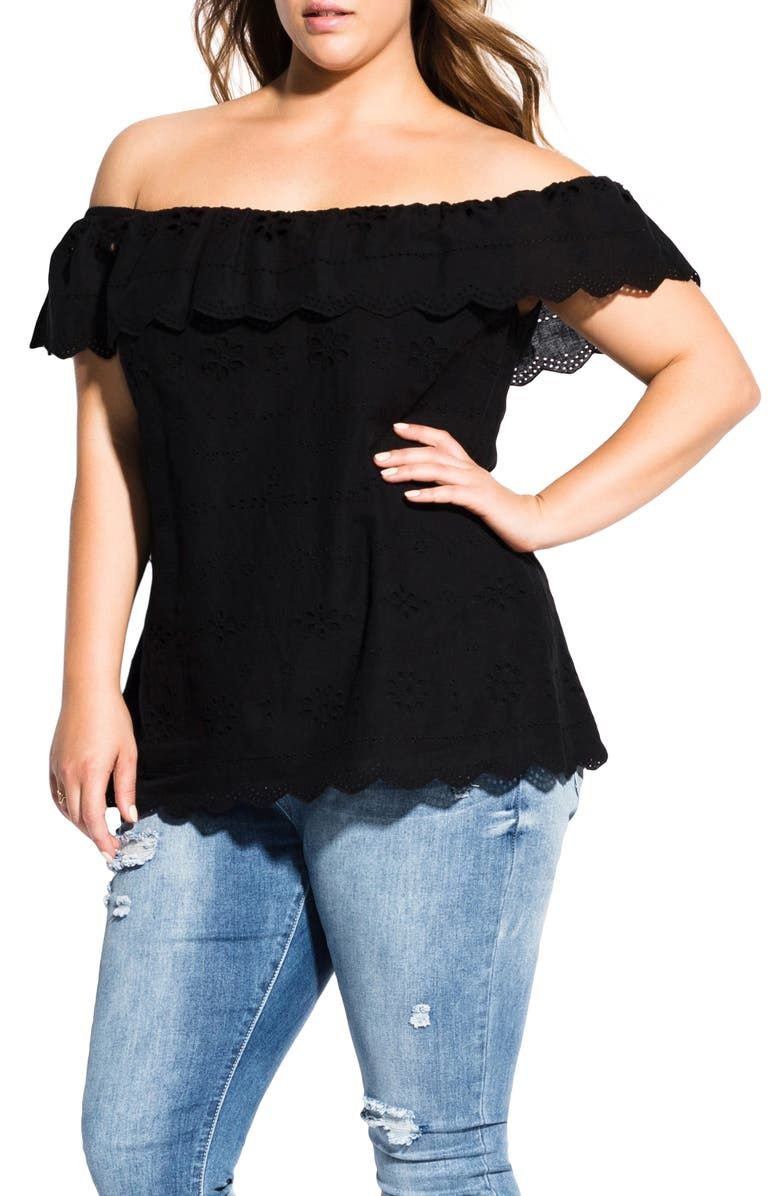 CITY CHIC Wild Embroidered Cold Shoulder Blouse, Main, color, 001