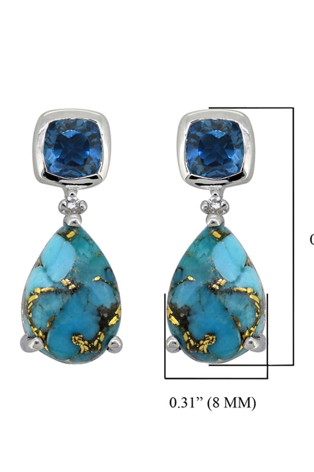 Image of Nitya Sterling Silver Blue Copper Turquoise London Blue Topaz Earrings