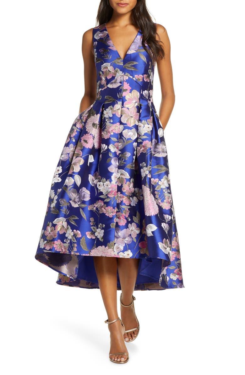 ELIZA J Floral Fit & Flare Dress, Main, color, BLUE