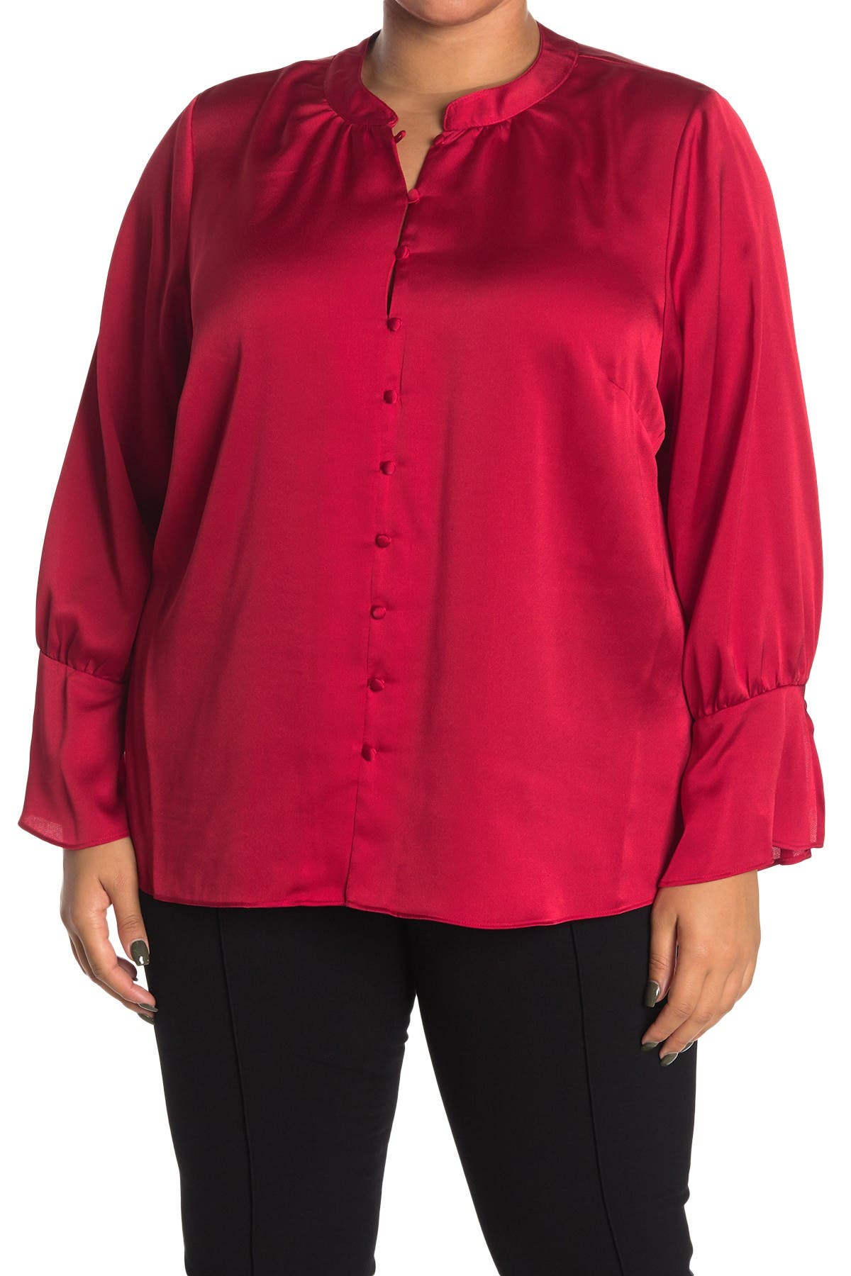 Image of Calvin Klein Solid Long Sleeve Satin Blouse