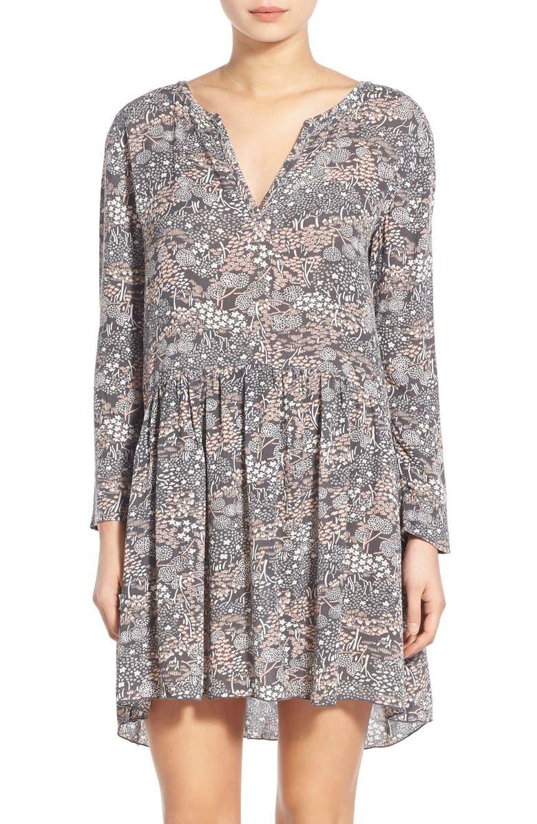 HINGE Floral Print Swing Dress, Main, color, 020