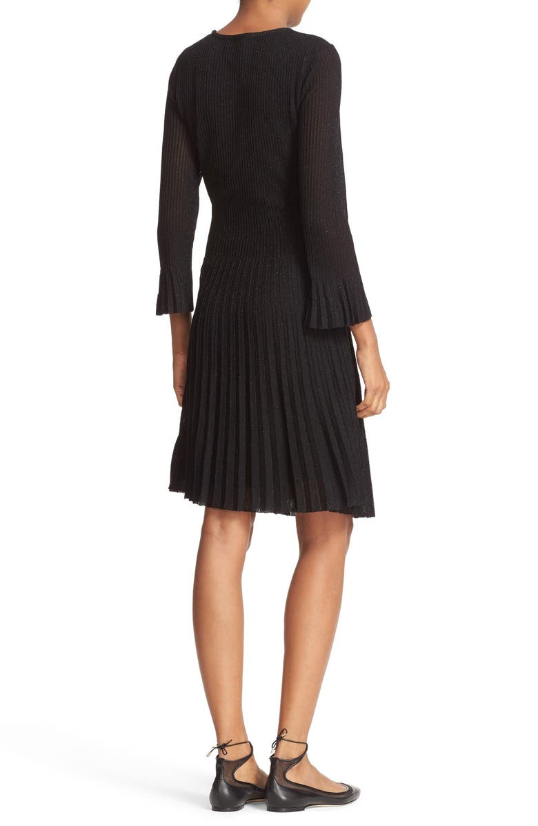 KATE SPADE NEW YORK shimmer knit fit & flare dress, Main, color, 001