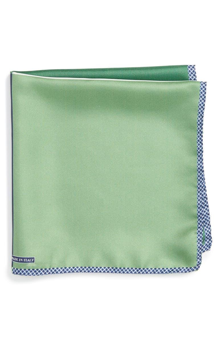 NORDSTROM MEN'S SHOP Panel Silk Pocket Square, Main, color, GREEN
