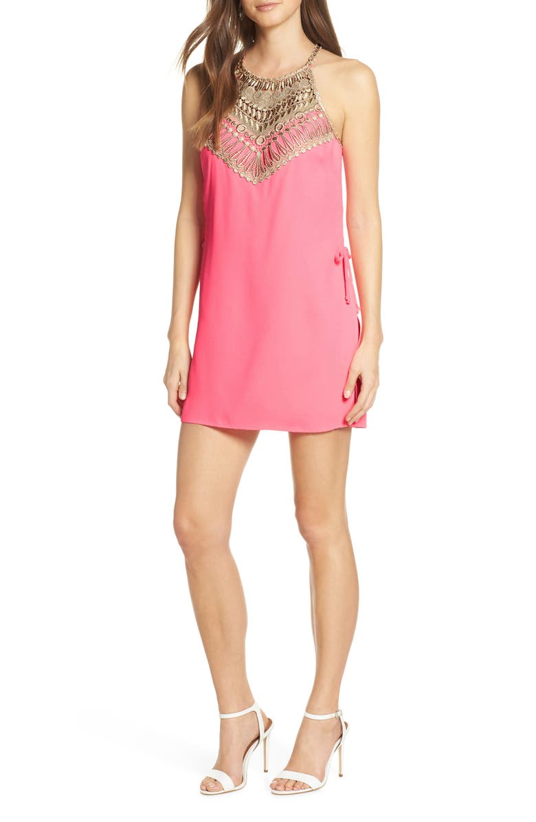 LILLY PULITZER<SUP>®</SUP> Pearl Lace Trim Romper Dress, Main, color, PINK TROPICS
