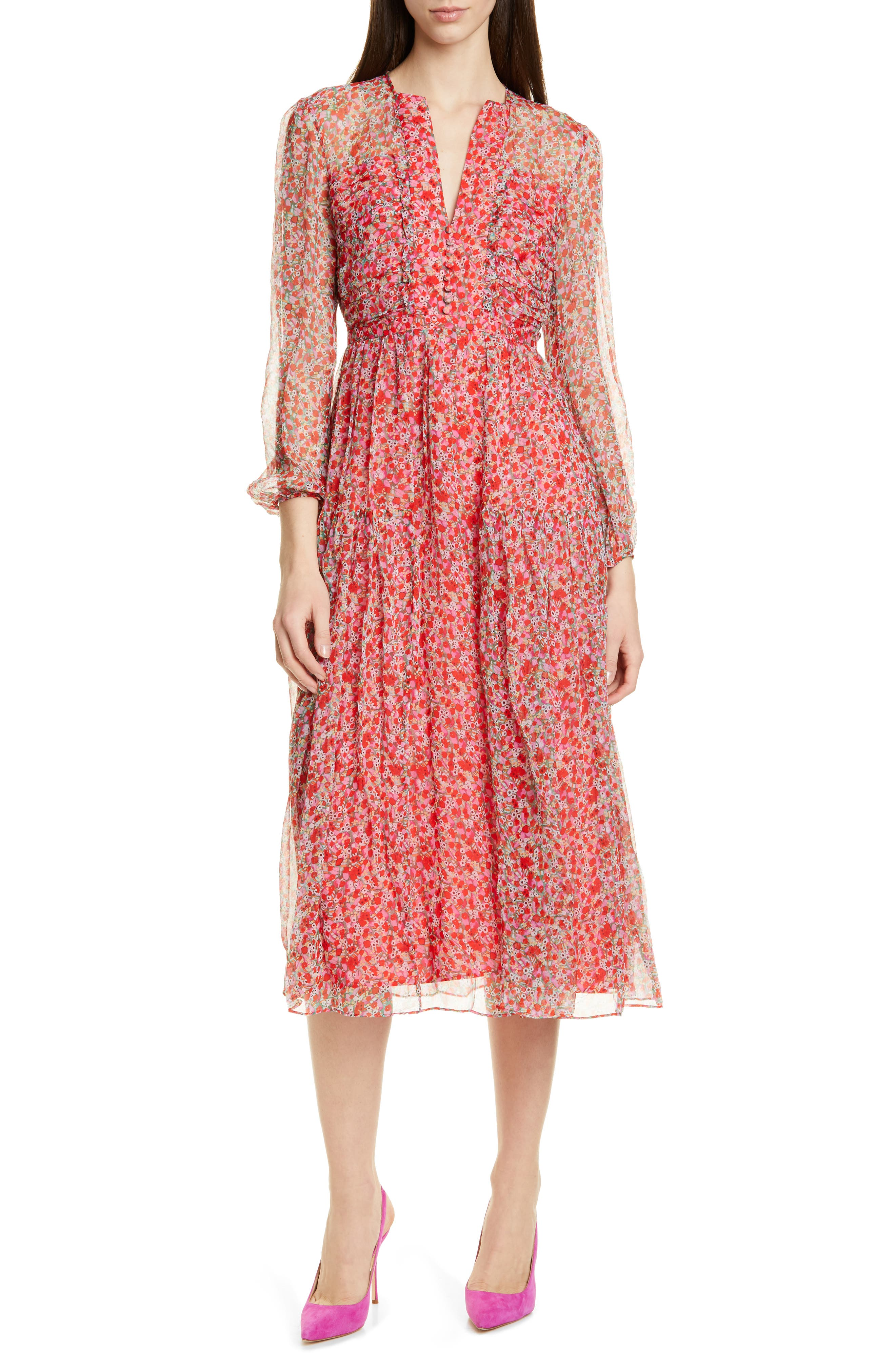 Saloni Yasmeen Floral Long Sleeve Silk Midi Dress, Red