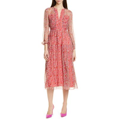 Saloni Yasmeen Floral Long Sleeve Silk Midi Dress, Red