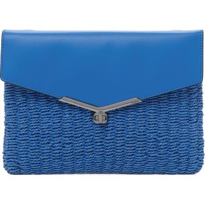Botkier Valentina Straw & Leather Envelope Clutch - Blue