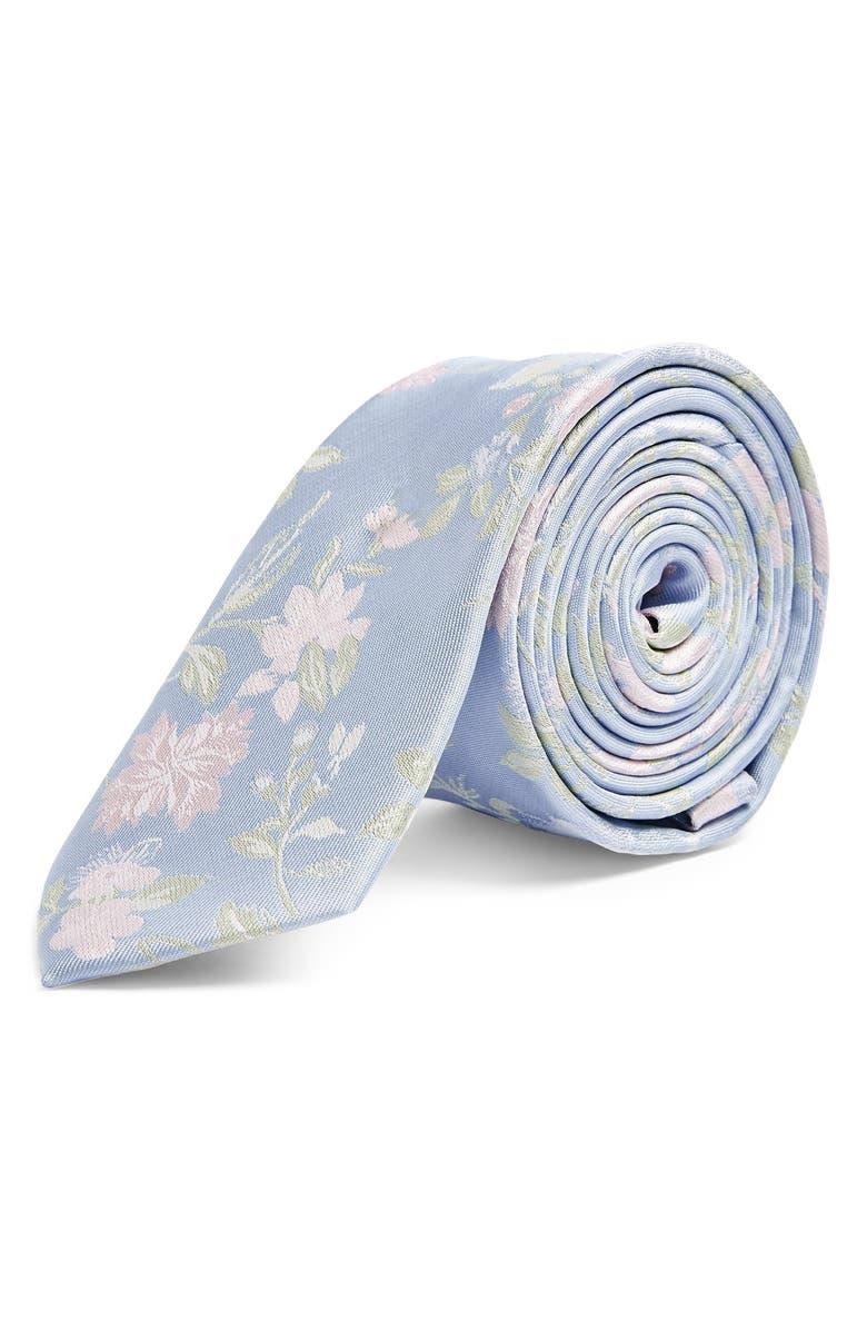 TOPMAN Floral Tie, Main, color, 450