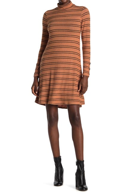 Image of Velvet Torch Slater Striped Mock Neck Sweater Dress