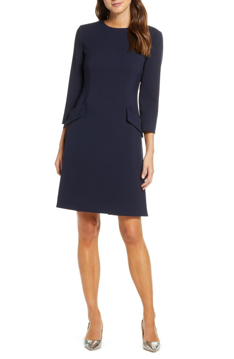 ELIZA J Pocket Detail Bracelet Sleeve Crepe Minidress, Main, color, NAVY