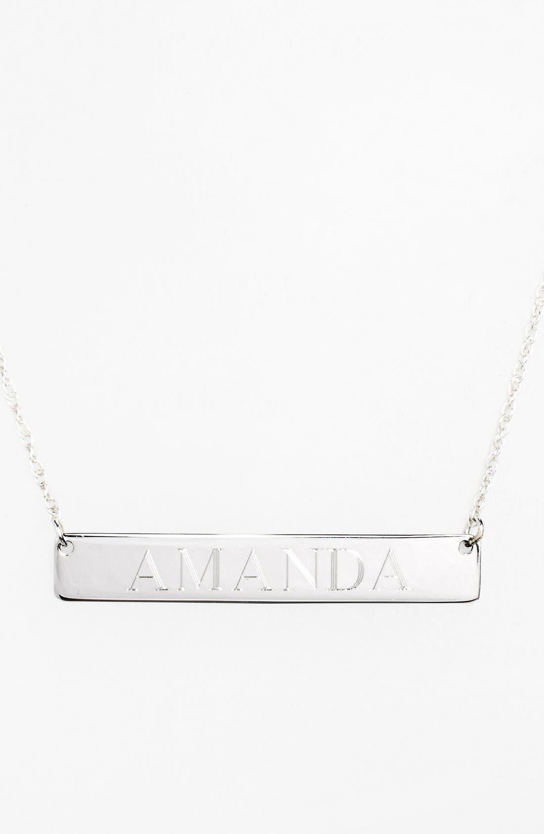 ,                             Personalized Bar Pendant Necklace,                             Main thumbnail 1, color,                             SILVER