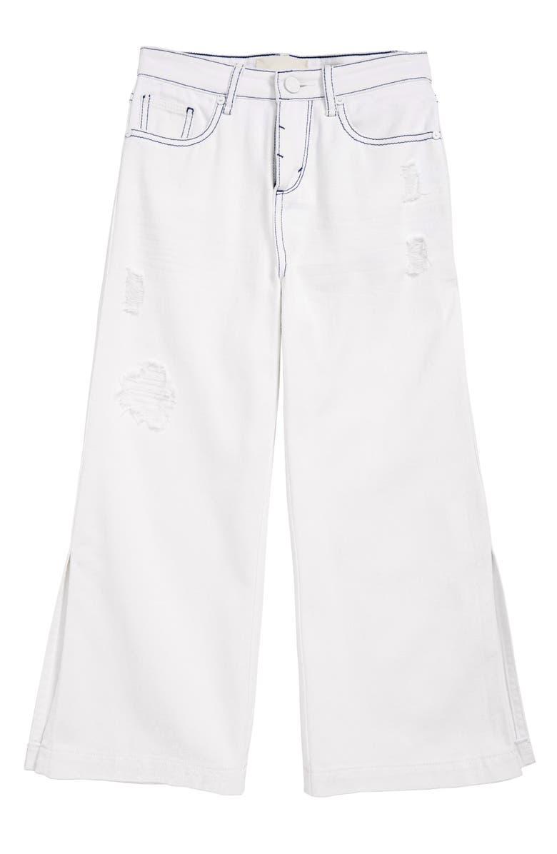 HABITUAL Kids Anya Destructed Wide Leg Jeans, Main, color, WHITE
