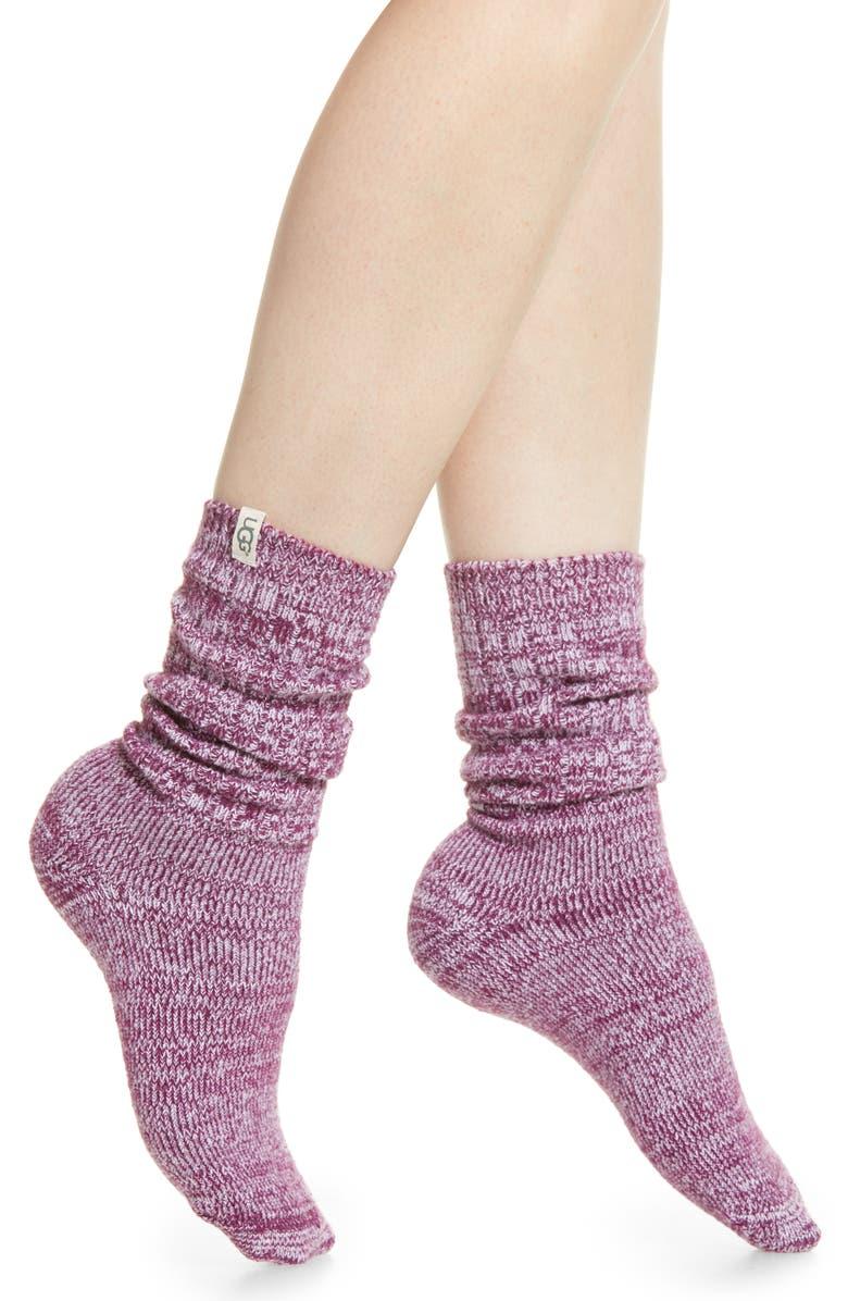 UGG<SUP>®</SUP> Ribbed Crew Socks, Main, color, PORT