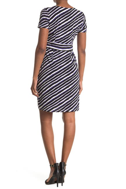 Image of London Times Techno Stripe Print Jersey Sheath Dress