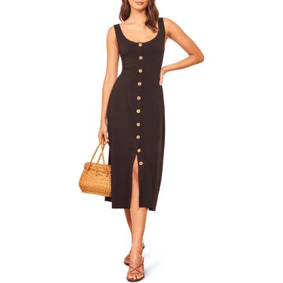 Reformation Ari Button Front Stretch Tencel Lyocell Dress, Black