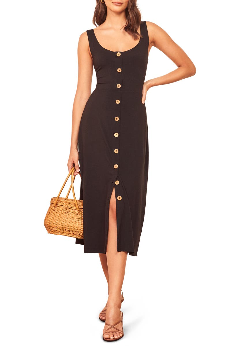 REFORMATION Ari Button Front Stretch Tencel<sup>®</sup> Lyocell Dress, Main, color, BLACK