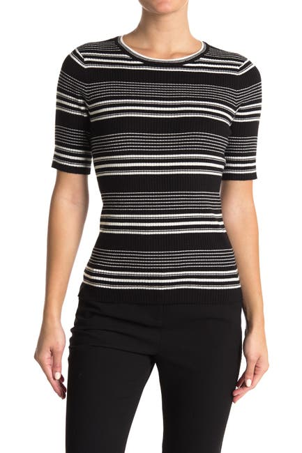 Image of T Tahari Striped Ribbed Knit Top