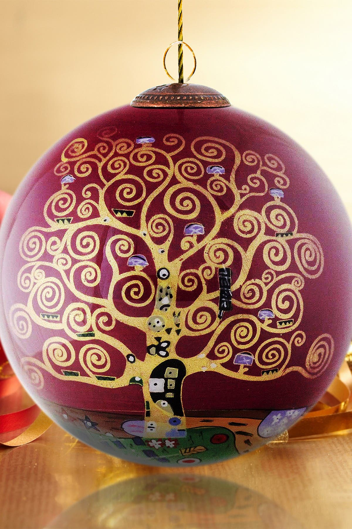 """Image of Overstock Art """"Tree of Life (Burgundy)"""" Gustav Klimt Hand Painted Glass Ornament Collection - Set of 6"""