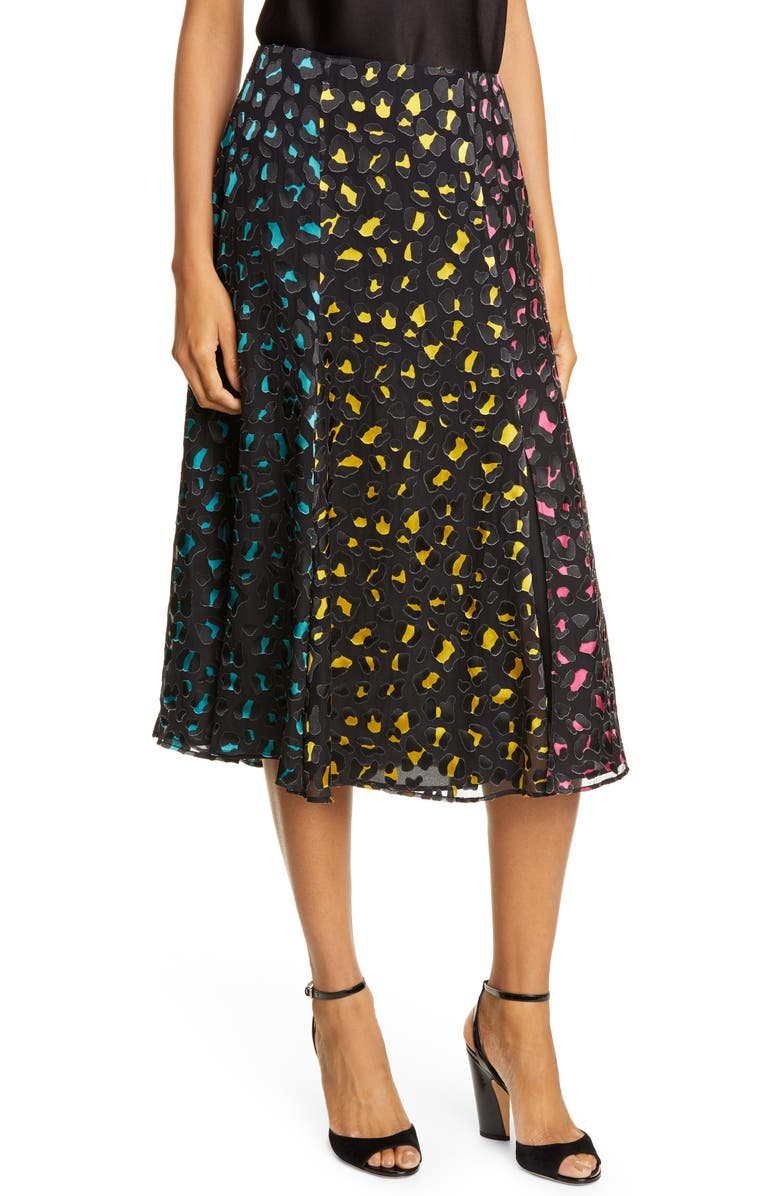 ALICE + OLIVIA Jenessa Abstract Leopard Print Burnout Silk Blend Skirt, Main, color, ABSTRACT LEOPARD TEAL/ COMBO