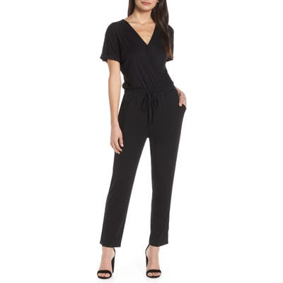 Chelsea28 Faux Wrap Jumpsuit, Black