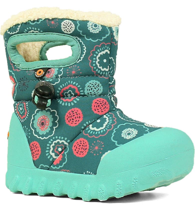 BOGS B-MOC Bullseye Insulated Faux Fur Waterproof Boot, Main, color, TURQUOISE MULTI