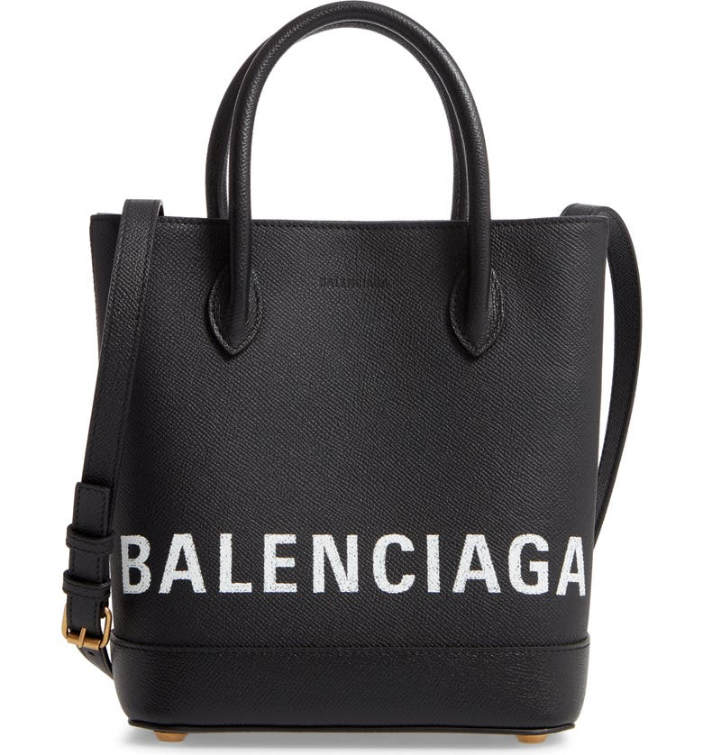 BALENCIAGA Ville Logo Leather Tote, Main, color, BLACK/ WHITE