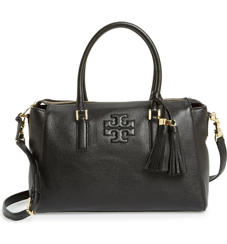 TORY BURCH 'Thea' Leather Satchel, Main, color, 001