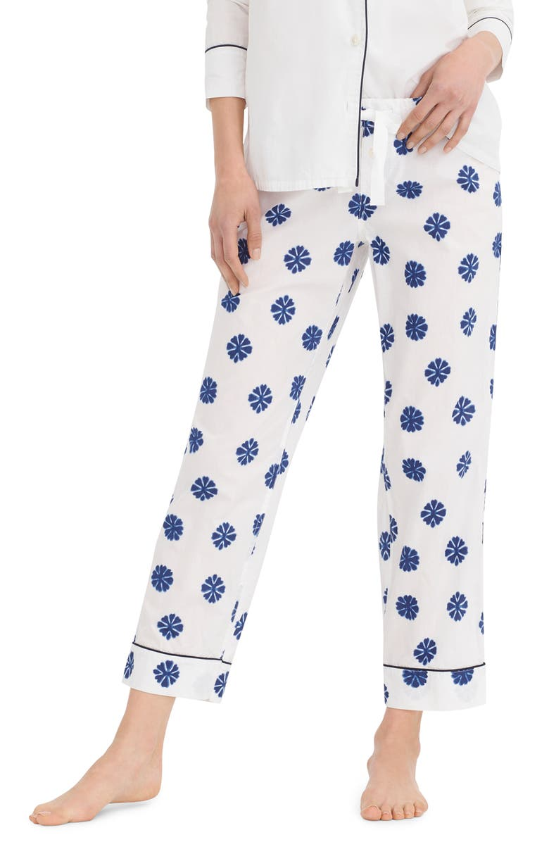 J.CREW Crop Lightweight Cotton Pajama Pants, Main, color, SMUDGE FLOWER IVORY DARK COVE