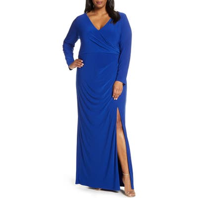 Plus Size Vince Camuto Long Sleeve Ruched Knit Gown, Blue