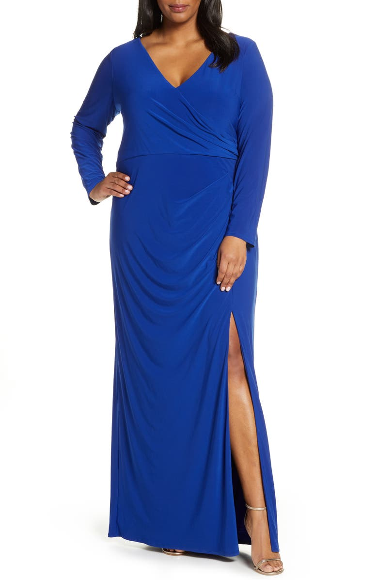 VINCE CAMUTO Long Sleeve Ruched Knit Gown, Main, color, COBALT
