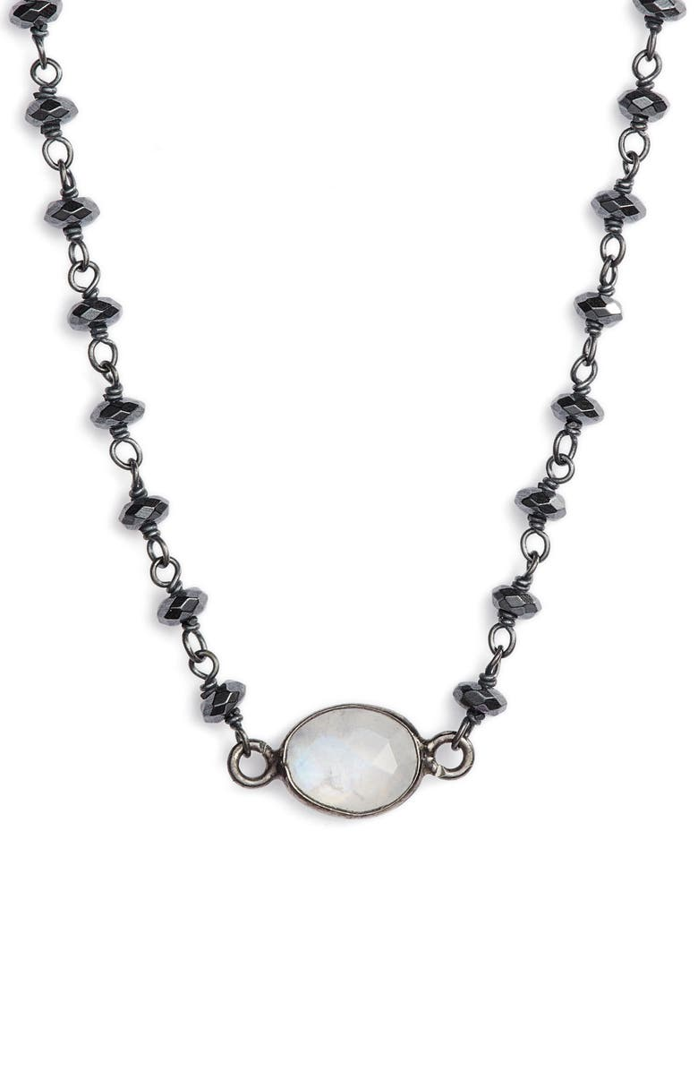 ELA RAE Semiprecious Stone Collar Necklace, Main, color, HEMATITE/ MOONSTONE