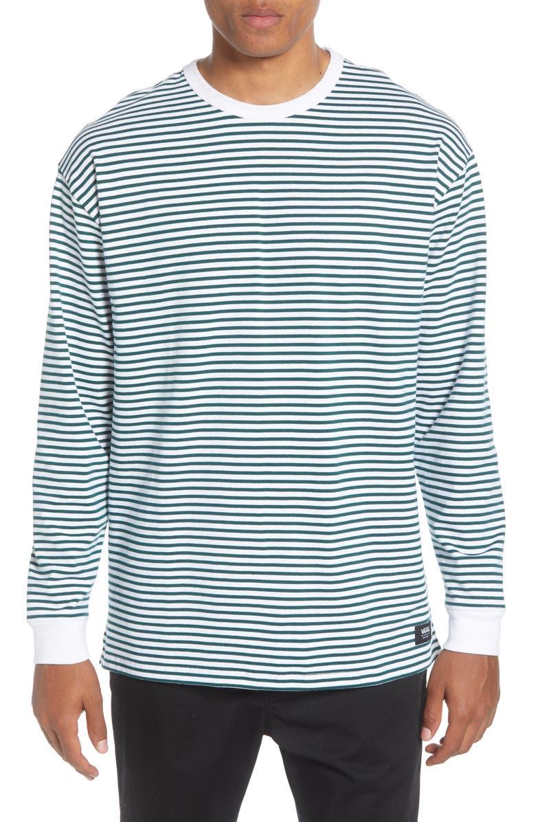VANS Awbrey Oversize Stripe Long Sleeve T-Shirt, Main, color, WHITE