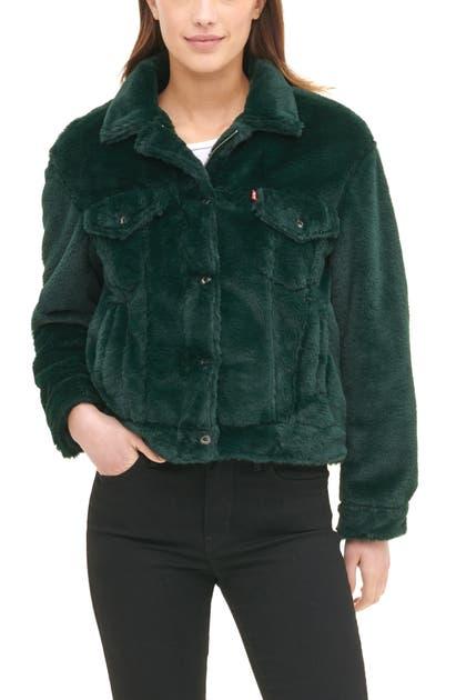 Levi's Women's Faux Fur Trucker Jacket In Pine Green