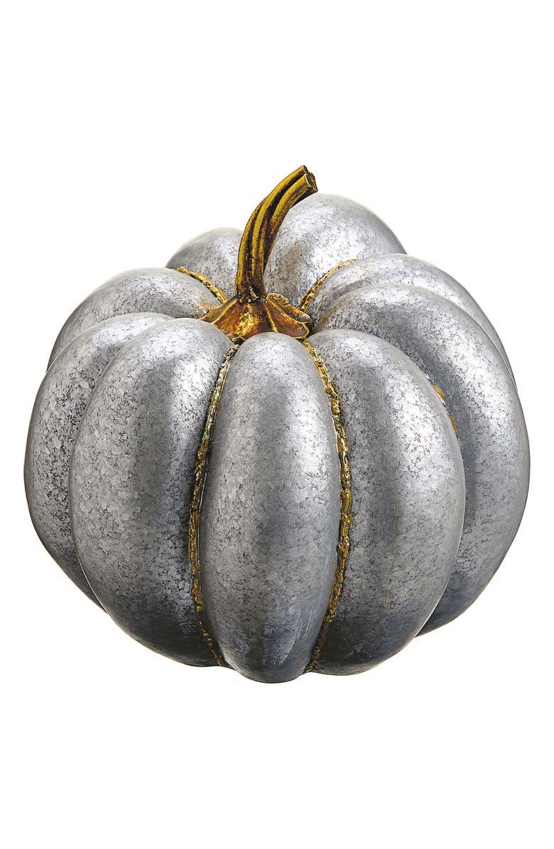 ALLSTATE Metallic Decorative Pumpkin, Main, color, SILVER GOLD