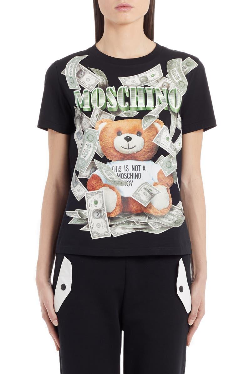 MOSCHINO Money Bear Graphic Tee, Main, color, BLACK