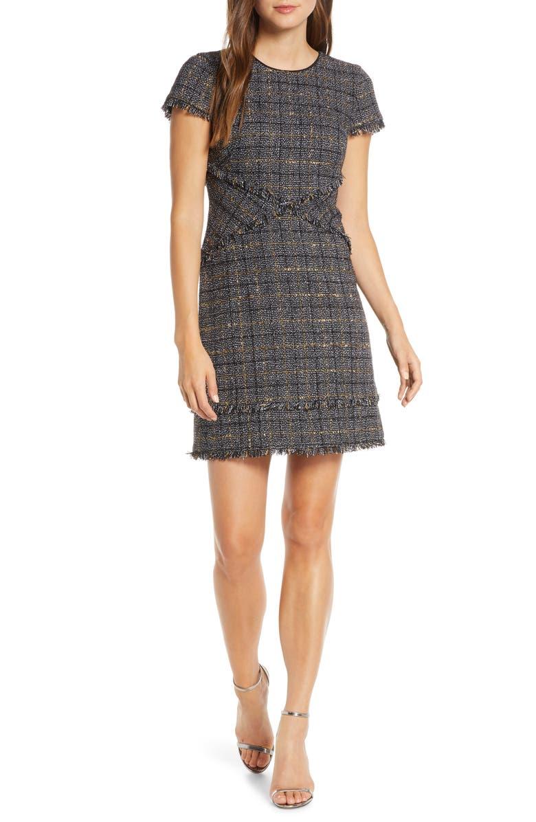 ELIZA J Metallic Check Fringe Tweed Sheath Dress, Main, color, GREY