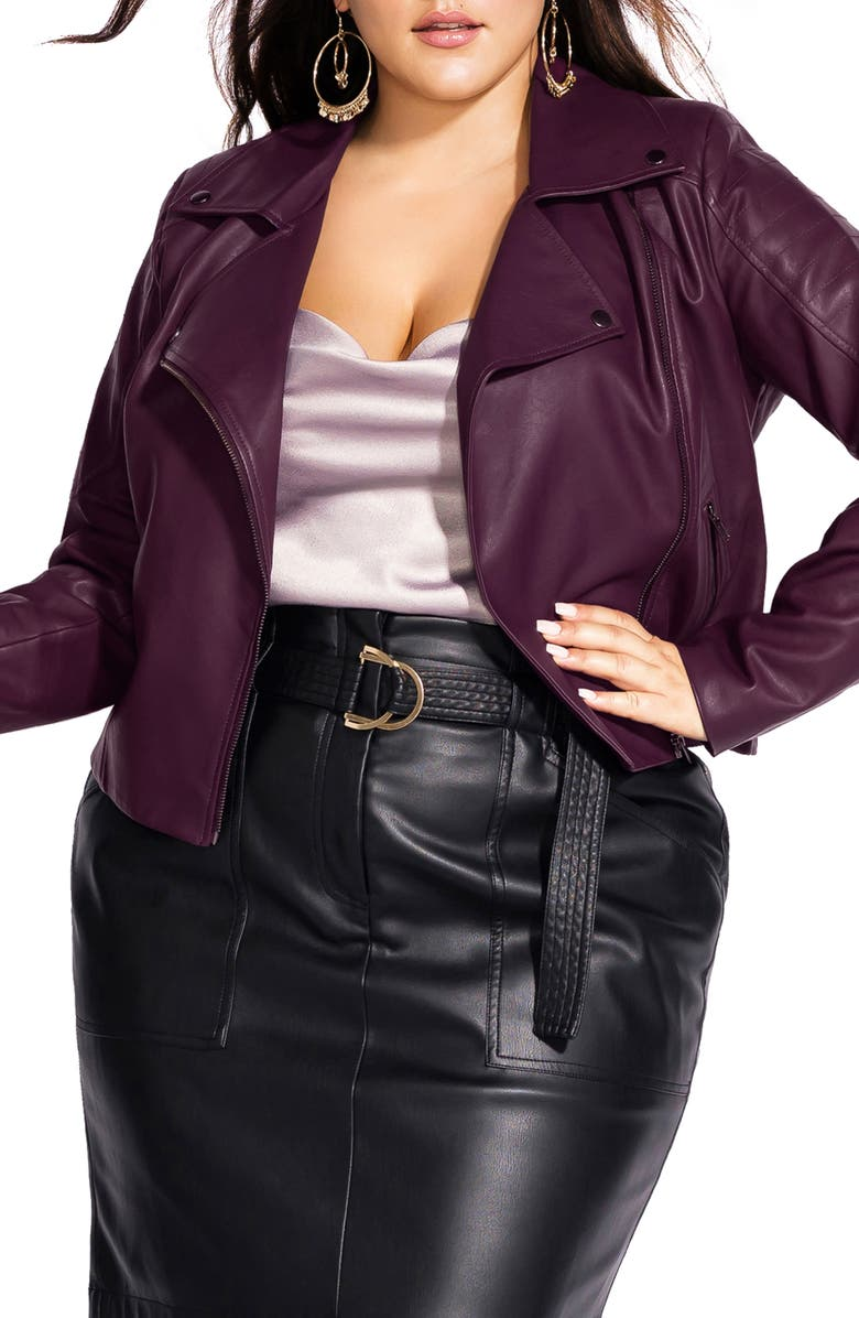 CITY CHIC Faux Leather Biker Jacket, Main, color, CABERNET